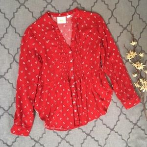 Red Anchors Away Pintucked Maeve Blouse